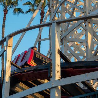 Adrenaline filled ride on the Roller Coaster at Belmont Park