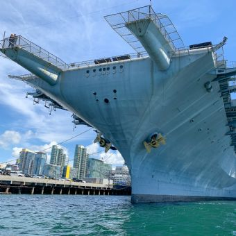 Front of the USS Midway Museum in San Diego