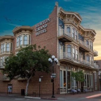 Exterior view at night, Horton Grand Hotel
