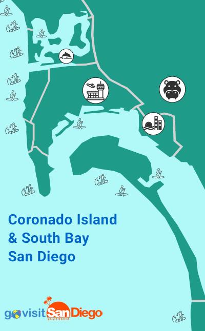 Coronado Island & South Bay San Diego Beach Map